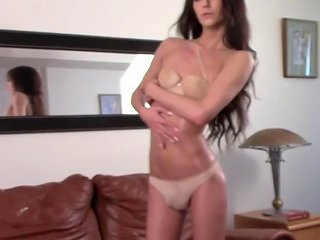 Flat Chested Shemale Babe Strips And Strokes For The Camera